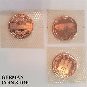 3-Medaillen-100-Jahre-Hamburgische-Munze-1975-1978-1982-Hansestadt-Hamburg