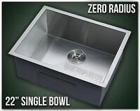 "22"" Single Bowl Undermount 16 Gauge 304 Stainless Steel Kitchen Sink Zero Radius"
