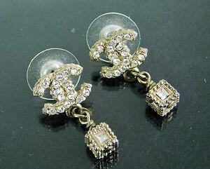 Image Is Loading Authentic Chanel Rhinestones Cc Dangle Drop Pierced Earrings