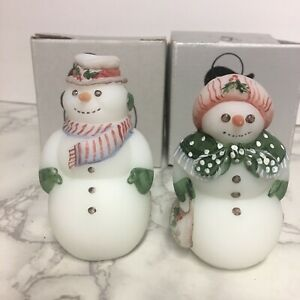 Pair-Of-Fenton-Snowmen-Mr-amp-Mrs-Snowman-95-Anniversary-Edition-w-Boxes-Christmas