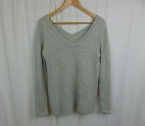 41-Hawthorn-Women-039-s-Gray-Wool-Blend-Long-Sleeve-V-Neck-Sweater-Shirt-Size-Small