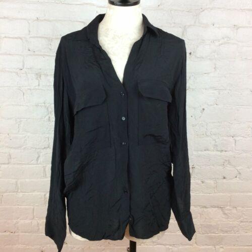 Zara Black Shear Button Down Blouse | L