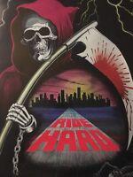 Ride Hard Original Vintage Poster Skeleton Grim Reaper Cityscape Motorcycle Ride