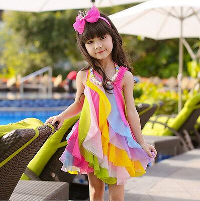 New Summer Kids Clothes Girls Dress Fancy Princess Wedding Party Tutu Vest Skirt