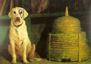 Vintage Art James Wyeth Wolfbane 1984 Kleberg Dog Circle Eye Bee Skep Hive Hat