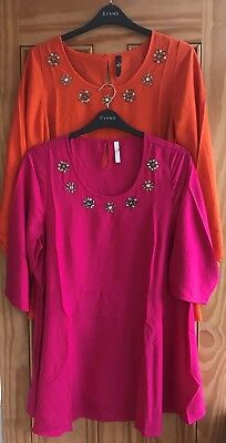 New Evans Navy Blue Boho Embroidered Sleeve Tunic Top Blouse 14-26 Size