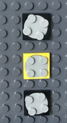 Black Gray /& Yellow 3 Lego Turntables 2x2 Spinners