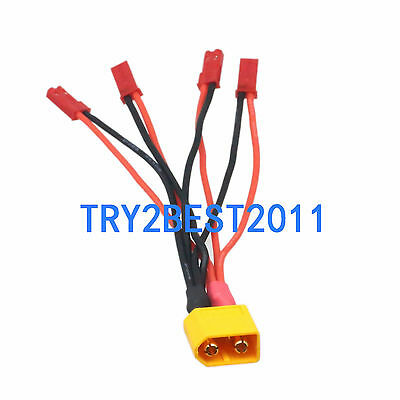 Deans Style T to JST Male Plug Connector 1 to 4 Power Cable fo RC FPV Quadcopter