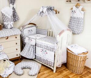 Babybett mit 10-tlg Komplett-Set Bettwäsche Matratze Nestchen Maus / Grau Neu