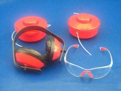 2x Fadenspule plus Schutzbrille und Gehörschutz für Arebos AR-HE-MW52C 4in1 Moto