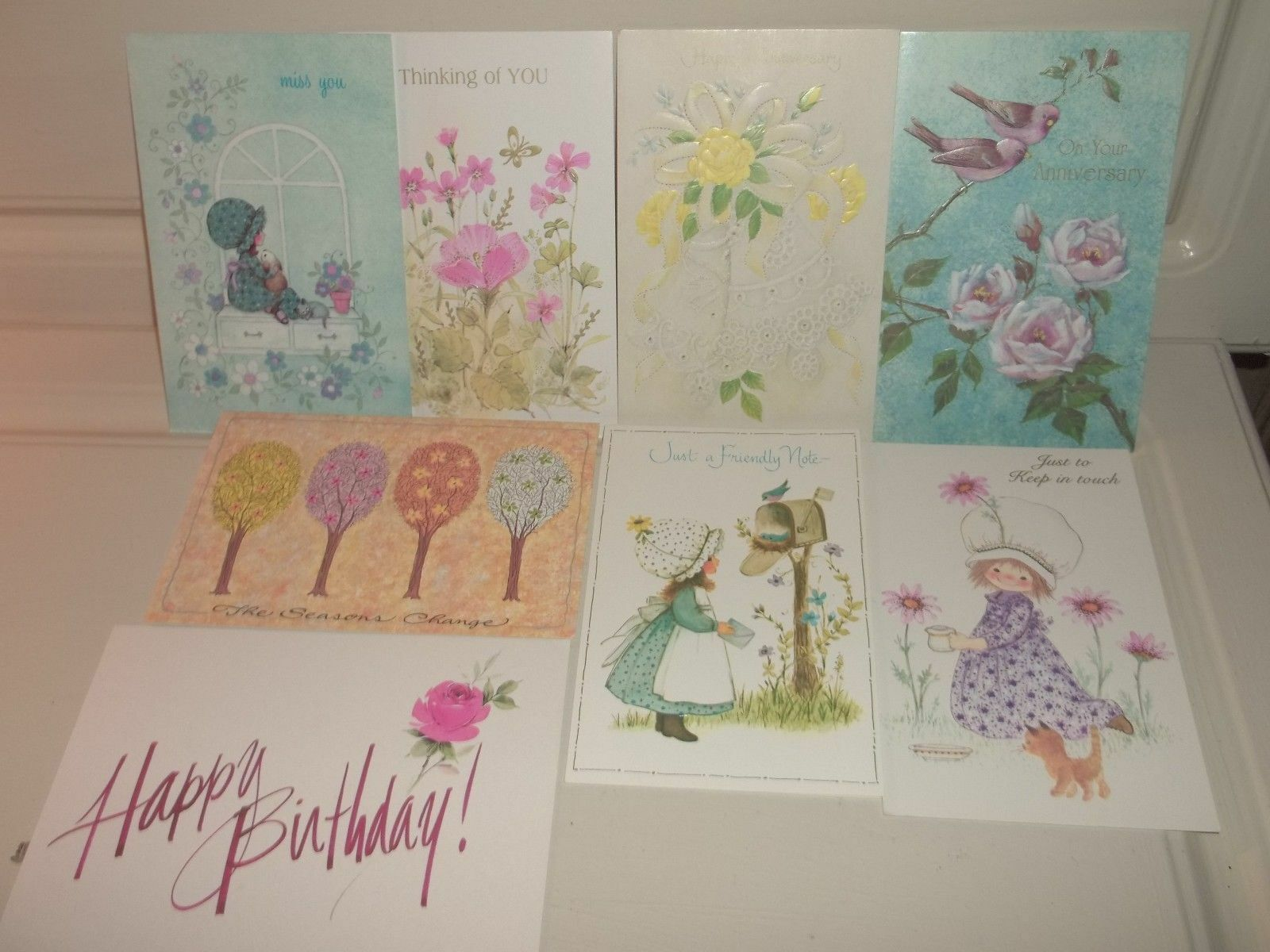 Lot of 8 Vintage Unused FAMOUS ARTISTS STUDIOS Cards Birthday