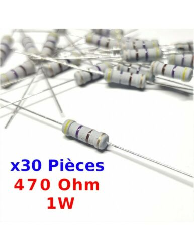 ± 5/% 1W 470R 7147B x30 Pcs 470 Ohm Résistance carbone