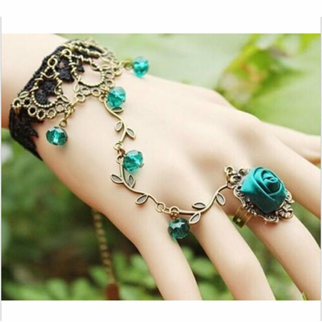 Beautiful Green Rose Lace Bracelet Bangle Slave Chain Finger Ring Hand Harness