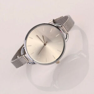 Neu-Damen-Maedchen-Elegant-Edelstahl-Uhren-Uhr-Silver-Slim-Band-Mode-Armbanduhren