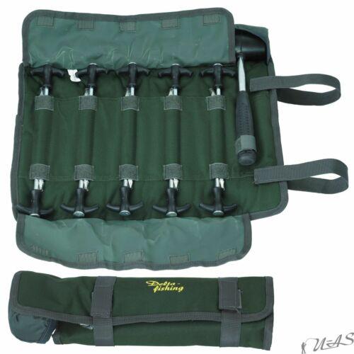 DELTA FISHING 10 Heavy Zeltheringe /& Hammer In Angel Tasche Bivvy Peg In Bag Sha