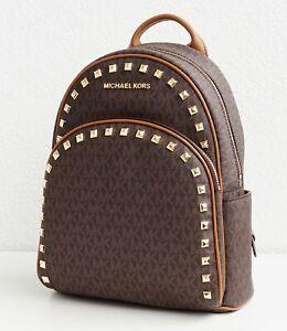 Details zu Michael Kors rucksack tasche abbey md studded signiatur backpack braun neu