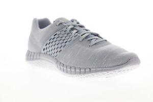 銳步打印跑 Dist cn1655 男式灰色帆布運動跑步鞋花邊
