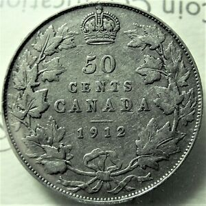 1912 Canada Silver Half Dollar Graded as Very Good