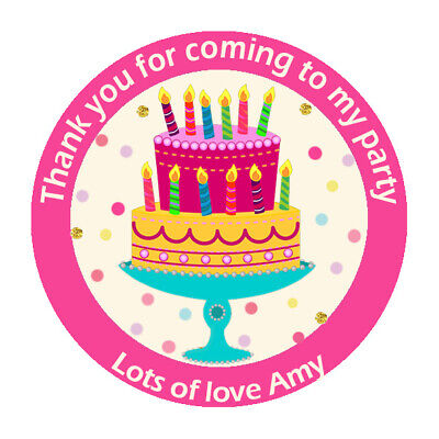 Thank You Bunting Cute Personalised Thank You Party Stickers Cake Gloss N394