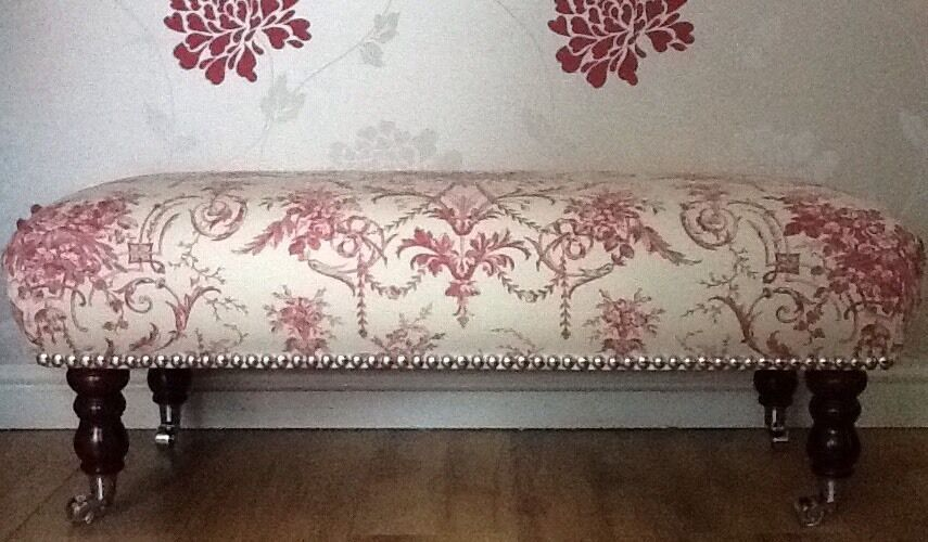 A Quality Long Footstool   Stool In Laura Ashley Tuileries Cranberry Fabric
