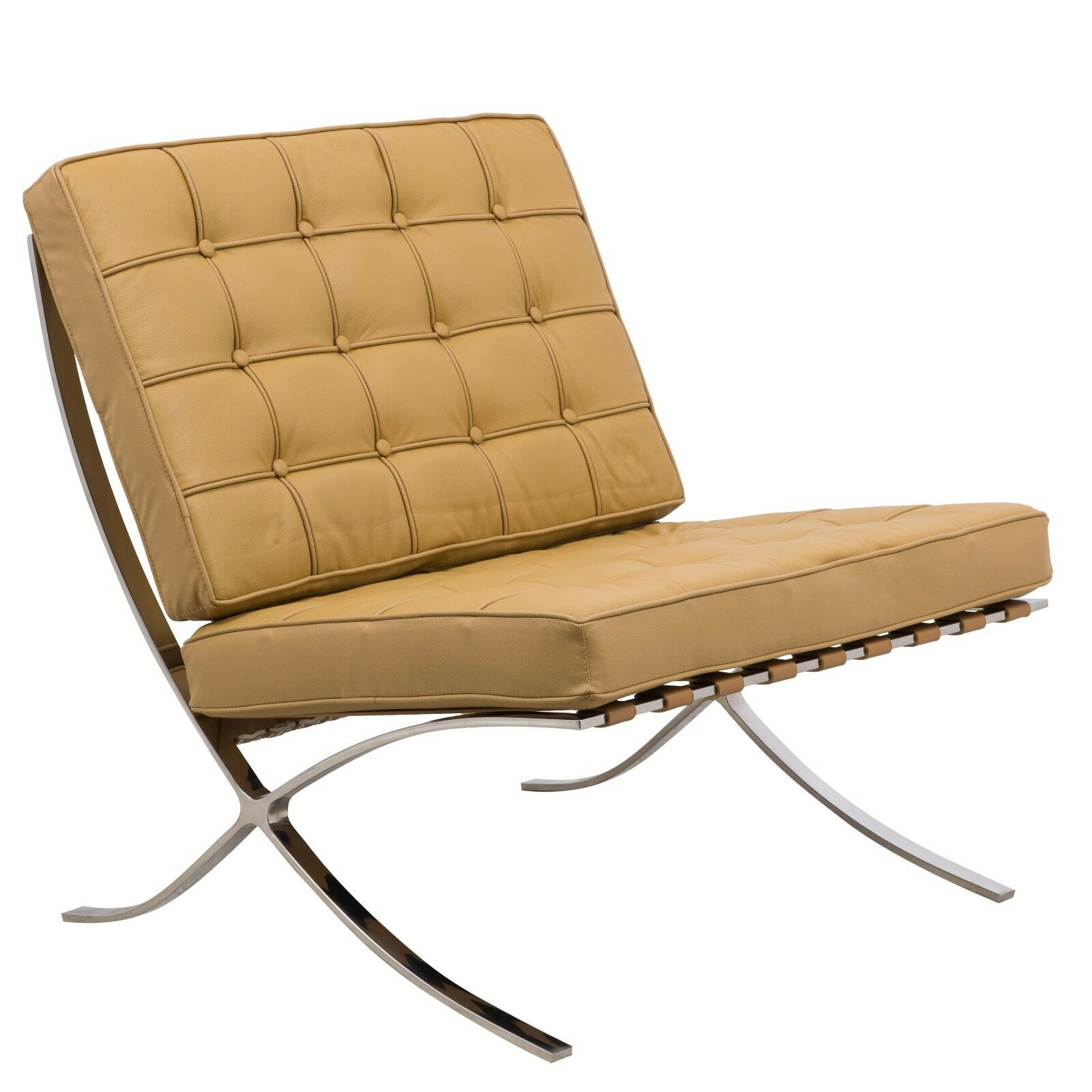 barcelona style modern leather pavilion chair in light brown ebay. Black Bedroom Furniture Sets. Home Design Ideas