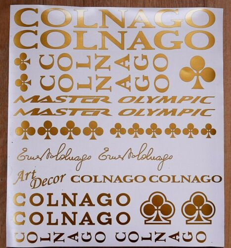 black. Gold Colnago Master Olympic Art Decor decals set.Stickers silver