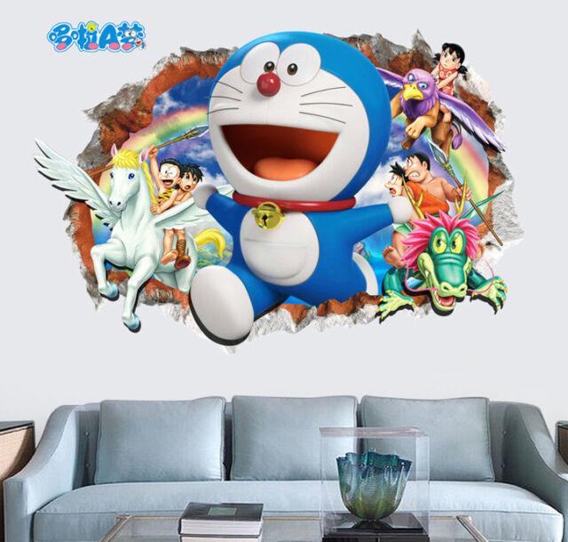 3d cartoon doraemon wall sticker decal home decoration wallpaper