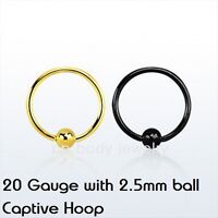"""1pc. 20G~5/16"""", 3/8""""  with 2.5mm ball Anodized 316L Captive Ring Ear, Lip, Nose"""