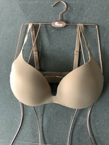 New Wacoal Bra 34D Nude Moulded Padded Soft Plunge Bra Push Up