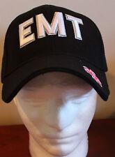 Black EMT Rescue Hat Adjustable Ballcap Ambulance Crew Cap Emergency ER Logo