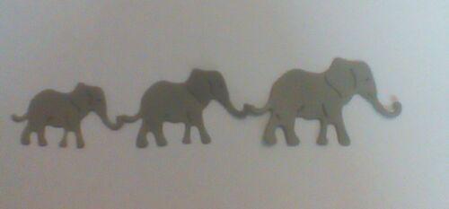 Carte Toppers. papier die cut 4 X Ensembles de trois éléphants