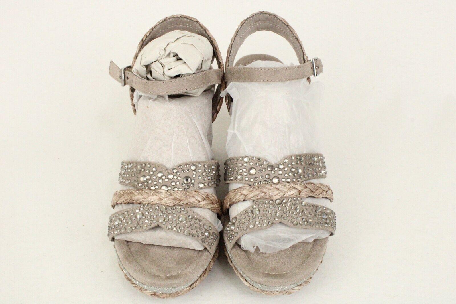 Impo Olympia Jute-Covered Wedge Heel Rhinestone Embellishments Shoes Sz 6.5 M US
