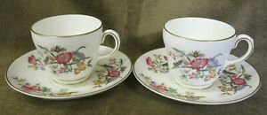2-Wedgwood-Sandon-English-Bone-China-Tea-Cups-amp-Saucers-WD-4010-more-available