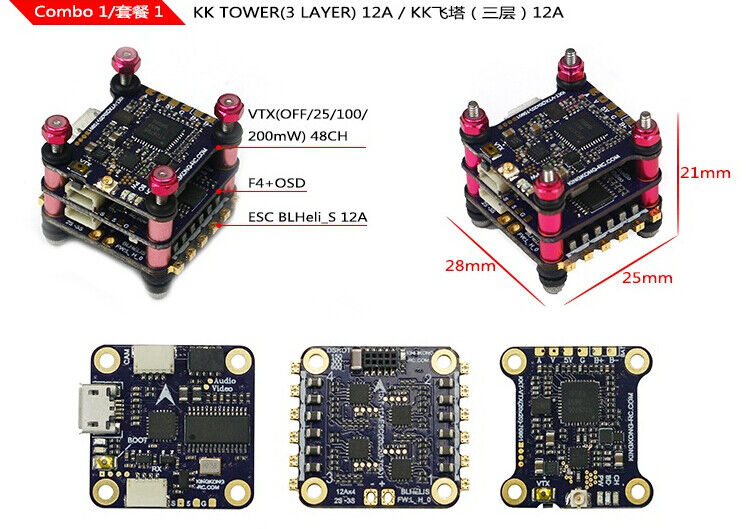 LDARC KK F4+OSD 3 Layer KK Tower 12A BLHELI-S 4in1 VTX For FPV Racing rc Drone