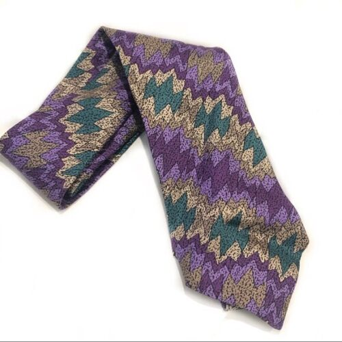 Missoni Vintage Cravatte Silk Tie Abstract 80s or… - image 1