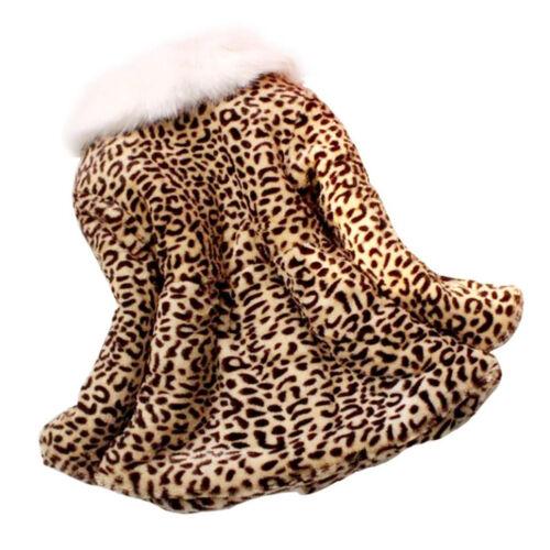 Baby Girl Kid Leopard Faux Fur Outwear Warm Winter Jacket Coat Party Outwear