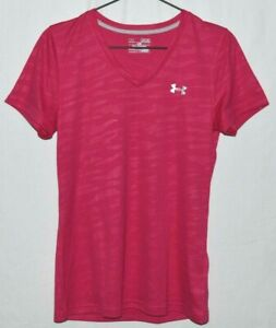 Under-Armour-Womens-Medium-Heat-Gear-Pink-Camo-Running-Athletic-T-Shirt