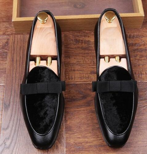 Red Mens Velvet Bowtie Wedding Wedding Shoes Slip On Party Wingtip Dress Loafers