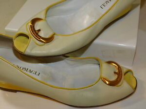0482dbe55e2 Details about Bruno Magli 8 B Cream White Yellow Leather Wedge Peep Toe  Slip on Shoes