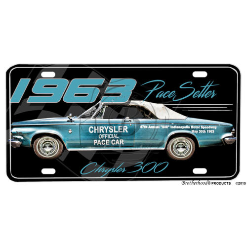 1963 Chrysler 300 Pace Setter Indy 500 Pace Car Aluminum License Plate
