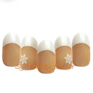 Nails-24-x-French-Oval-Full-Cover-False-Short-Medium-Glue-New