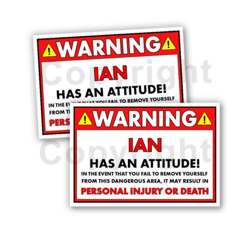 "Ian a une attitude 2 Funny Warning Stickers Large 5/"" Orange Lot de 2"