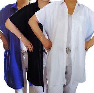 UK-Plus-Size-18-24-Ladies-Linen-Shirts-Long-length-Short-Sleeved-Blouse-Cotton