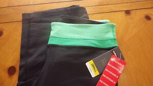 Reversible Yoga Capri Pants Workout Spandex Pants Capris Green Band Black SMALL