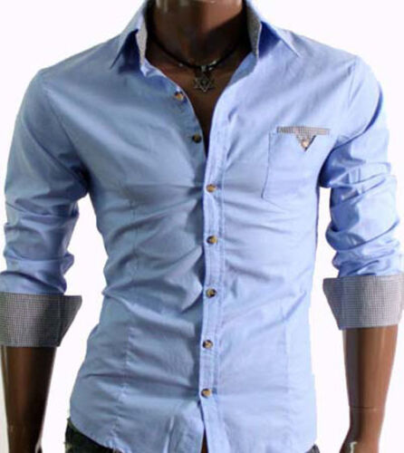 Da Uomo Elegante Casual Slim Dress Shirts UK Taglia S-XXL