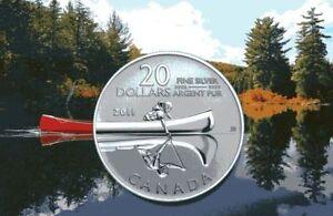 Canada-2011-20-for-20-0-9999-pure-Fine-Silver-Coin-Canoe