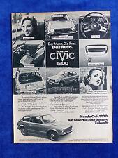 Honda Civic 1200 - Werbeanzeige Reklame Advertisement 1976 __ (079