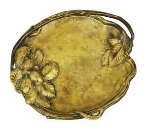 Jugendstil Guss Bronze naturalistische Schale c1920 signiert Willy