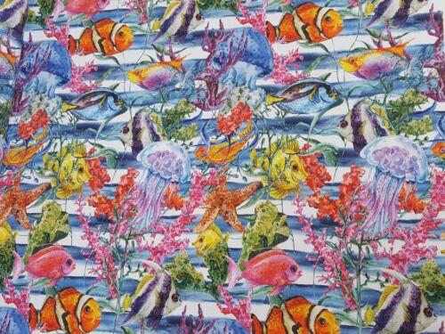 Stoffe Baumwolle Panama Digitaldruck Deko Patchwork Gardine Fische Meer Nr26