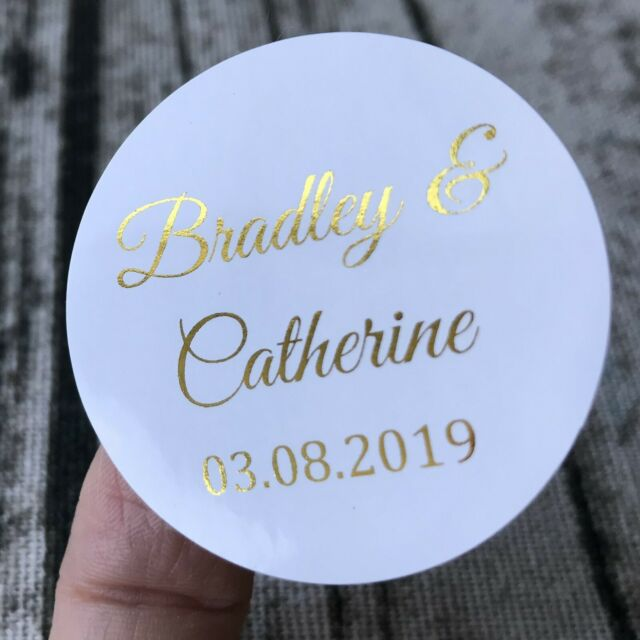 Silver Rose Gold Foil Personalized Wedding Engagement Party Favor Label Stickers